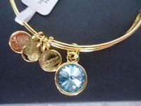 "Alex and Ani ""Bangle Bar"" March Birthstone Yellow-Gold Expandable Bracelet (A09EB242G) Jewelry"