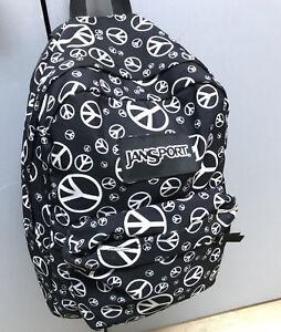 35474a861f Image is loading JANSPORT-Backpack-Travel-School-Peace-Symbols-Black-White