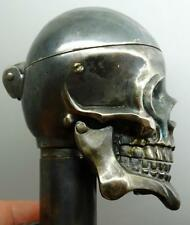 Outstanding 18th C French Memento Mori Doctor's Skull Verge Fusee desk clock