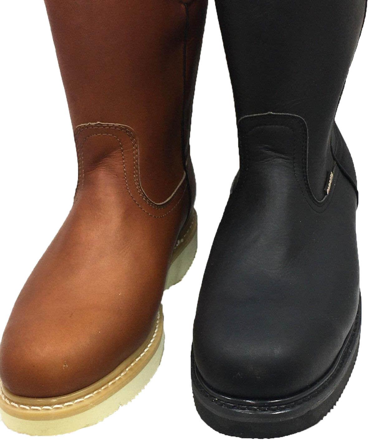 Para Hombre botas De Trabajo Luz-W. Tire De Cuero Marrón Negro Aceite Antideslizante