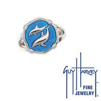 Guy Harvey Porpoises Ring Blue Enamel Bright Finish 15mm Sterling Silver Size 7