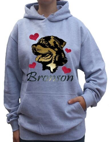 Rottweiler Personalized Dog Breed HOODIE KIDS /& ADULT soft gold glitter /& mat