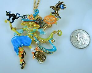 KIRKS-FOLLY-TEAL-ENYA-DIVINE-DIVA-WITCH-PIN-PENDANT-NECKLACE-Halloween-GF