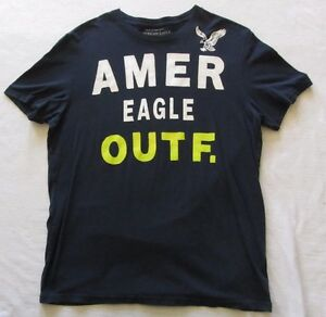b334b61c6 American Eagle Men's Athletic Fit S/S Crew Neck Navy Blue Graphic T ...