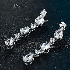 18K-WHITE-GOLD-GF-MADE-WITH-SWAROVSKI-CRYSTAL-WEDDING-PARTY-STUD-LUXURY-EARRINGS