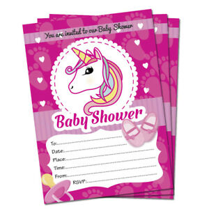 Baby Shower Invitations 20 Unicorn Theme Cards Party Invites
