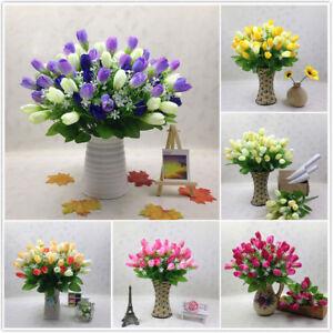 15Head-Artifical-Faux-Tulips-Flower-Single-Stem-Bouquet-Wedding-Party-Home-Decor