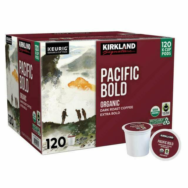 Kirkland Organic Pacific Bold Dark Roast Coffee K-Cup Pods -120 Count-Damage Box