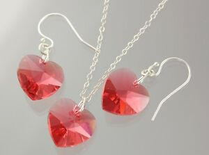 cad3a280c Image is loading Padparadscha-Heart-Necklace-amp-Earrings -Set-sterling-silver-