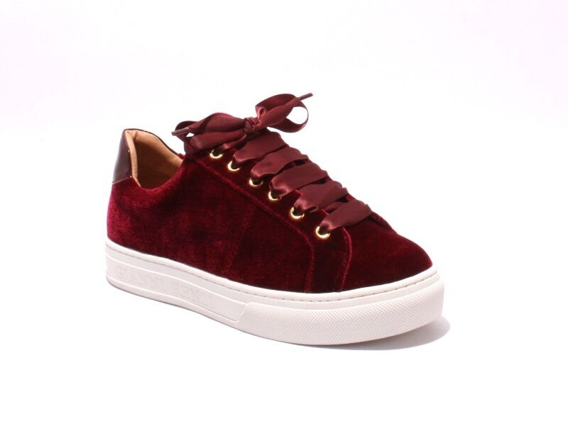 Gianni Renzi Couture 3178b Burgundy Velour   Leather Lace-Up Sneakers 39   US 9