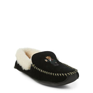 Polo-Ralph-Lauren-Suede-Leather-Shearling-Yarmond-Bear-Moccasins-Slippers-New