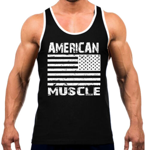 American Muscle USA Flag Men/'s Tank Top WT T Shirt Workout Fitness Gym Pride US