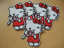 Pack of 5 Red Hello Kitty Camera Embroidery Patches 74mm Applique Sew On Patch