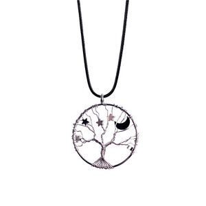 Womens silver star moon necklace tree of life charm chakra healing image is loading womens silver star moon necklace tree of life aloadofball Image collections