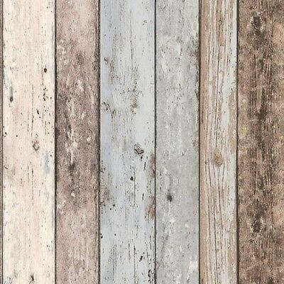 FREE POST Planks Grey Wood Timber Rustic Wallpaper sample size or double rolls