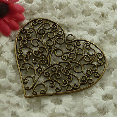 free ship 6 pieces bronze plated heart pendant 64x57mm #3029