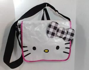 ac368eadded3 Hello Kitty Sanrio Black White Check Bow Messenger Satchel Laptop ...