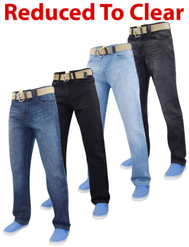 Mens Denim Jeans Cotton Regular Fit Straight Leg Trousers Pants Big /& Tall Sizes