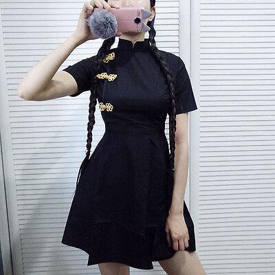 Negro Ajustado Estilo Chino Cheongsam Vestido QIPao Gótico Lolita Sexy
