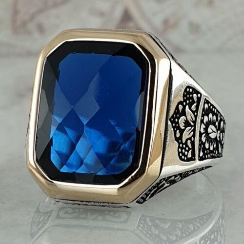 Solid 925 Sterling Silver Blue Sapphire Gemstone Mens Ring Handmade Ottoman