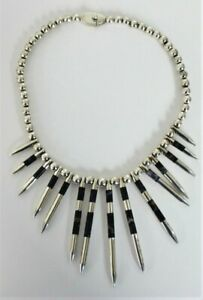 Vintage-Taxco-Monteros-970-Sterling-Silver-Necklace-with-Lapis-Insets-HEAVY