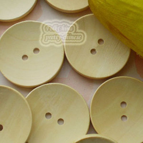 Plain Natural 2 Hole 35mm Wood Buttons Sewing Scrapbooking Craft C008