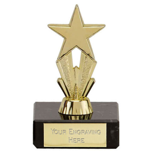8 cm Micro Star Gold Trophy FREE Engraving up to 30 Letters