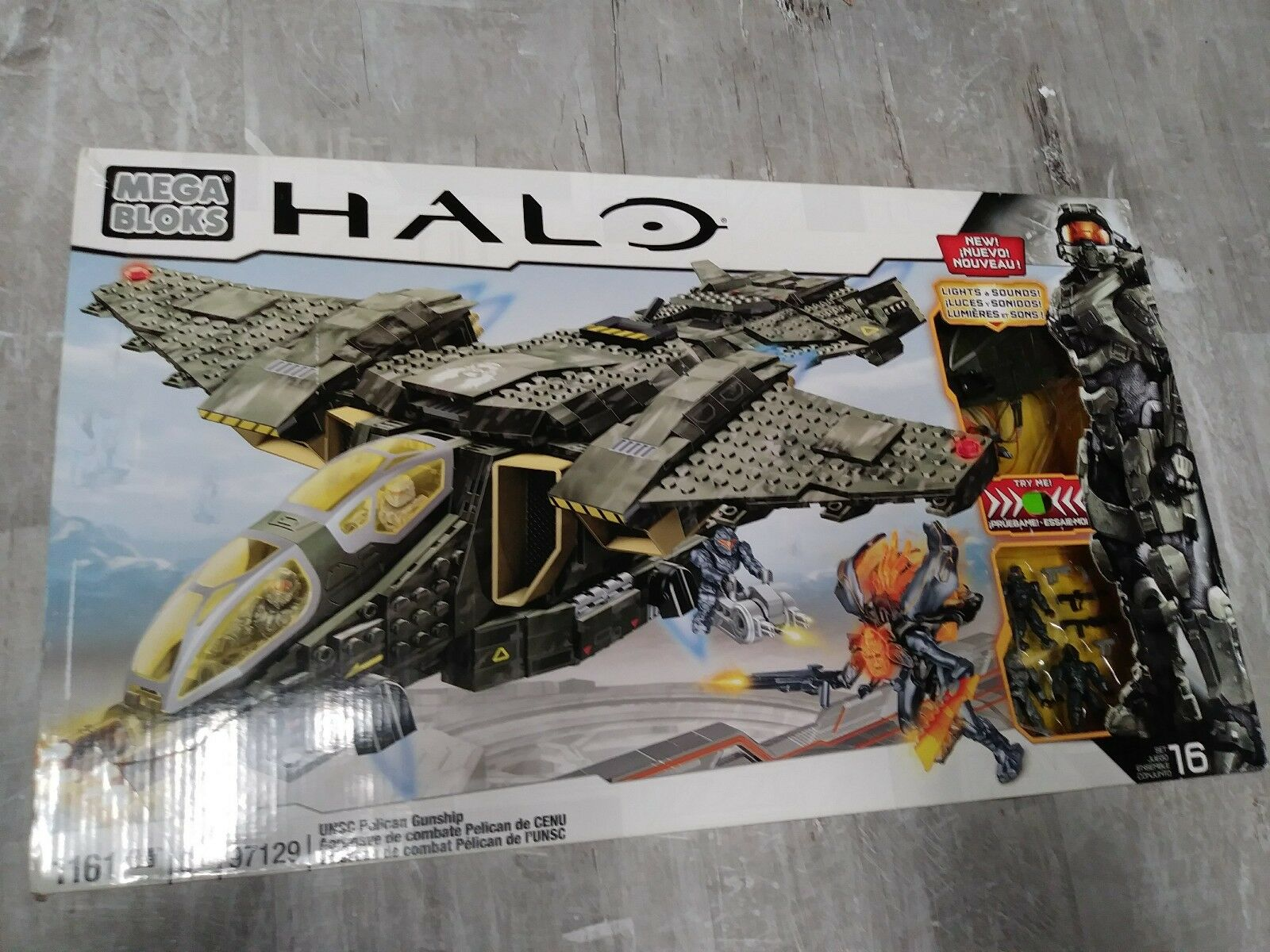 Nuevo Mega Bloks Halo UNSC Pelican Gunship Set W luces y sonidos de 1161 piezas