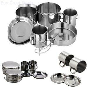 Backpacking-Camping-Cookware-Set-Stainless-Steel-Outdoor-Pot-Picnic-Pan-Mug-8Pcs