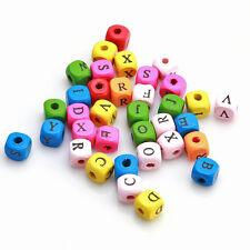500pc Wholesale Multicolor Square Letters Wood Bead Charms Fit Necklace Random J