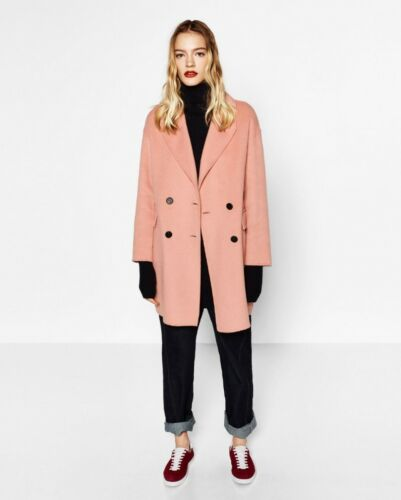 Pink Taglia Coat L Zara Uk Long 12 PdzExq
