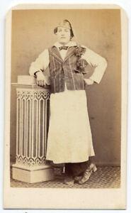 CDV Ancona Uomo in costume tradizionale Foto originale all'albumina 1870c S1300