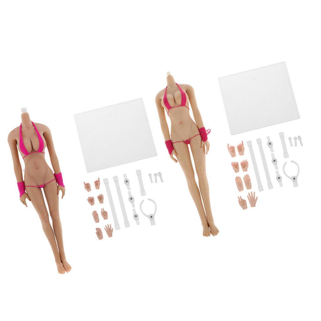 2 conjuntos de 1 6 Escala Cuerpo De Mujer Muñeca Sin Costuras Big Bustos para Sidehsow Pantalones De Vestir