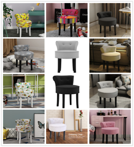 Makeup Dressing Table Stool Bedroom Back Chair Padded Seat