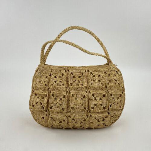 Vintage Woven Rattan Straw Purse Handbag Braided S