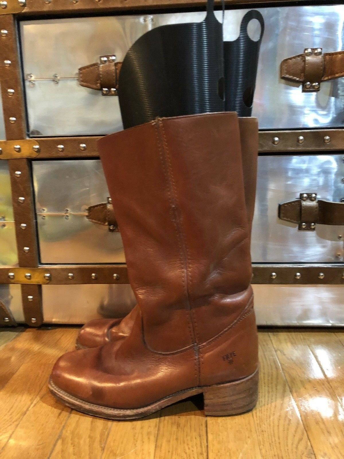 Vintage FRYE Tan Leather Men's Campus Motorcycle Boots Sz 10 D Great Condition