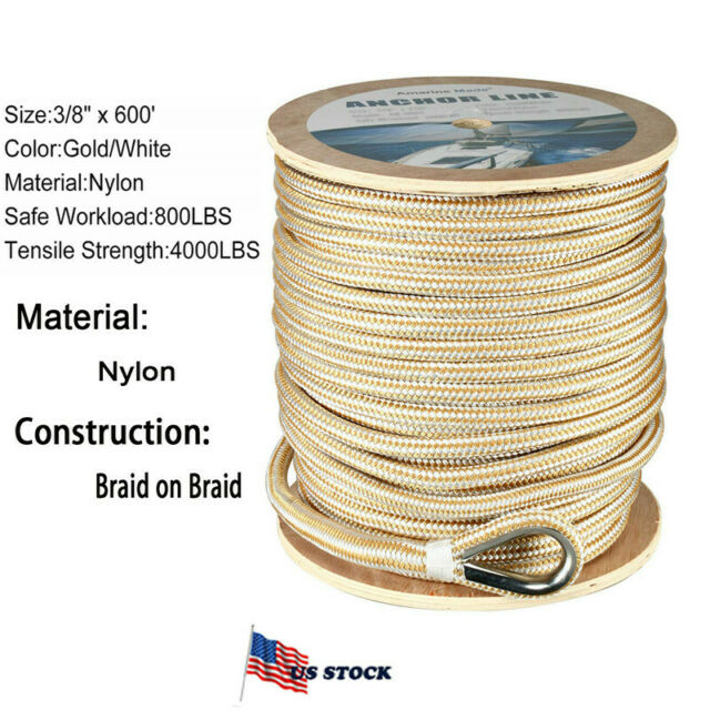 """US Ropes 2 Pieces Nylon Double Braided Fender Line 3//8/"""" x 6/' Gold and White"""