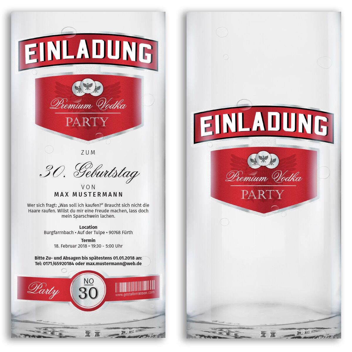 Einladungen zum Geburtstag als Wodka Flasche Karten Party Einladungskarten