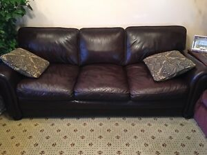 Image Is Loading Dark Brown Leather Sofa With Two Matching Pillows