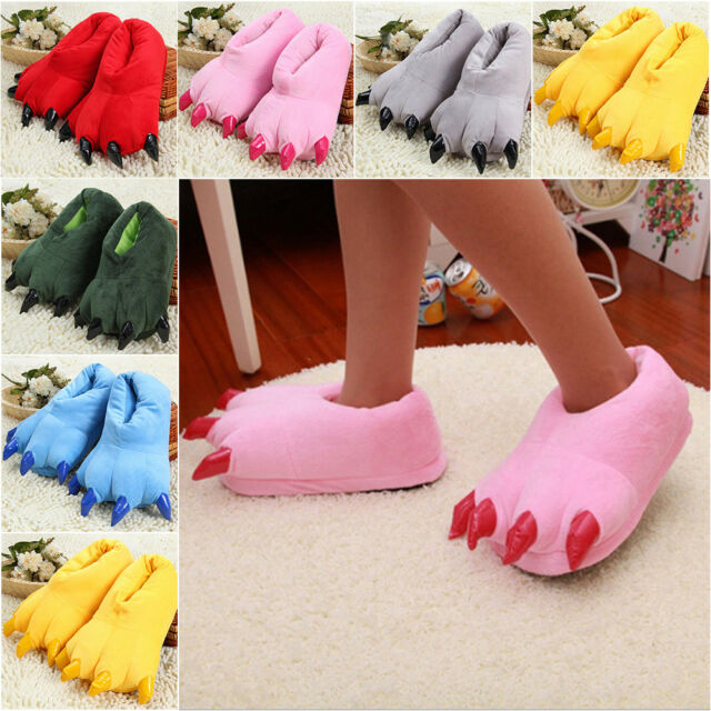 1Pair Christmas Fun Warm Unisex Adult Kids Shoes Paw Monster Claw Plush Slippers