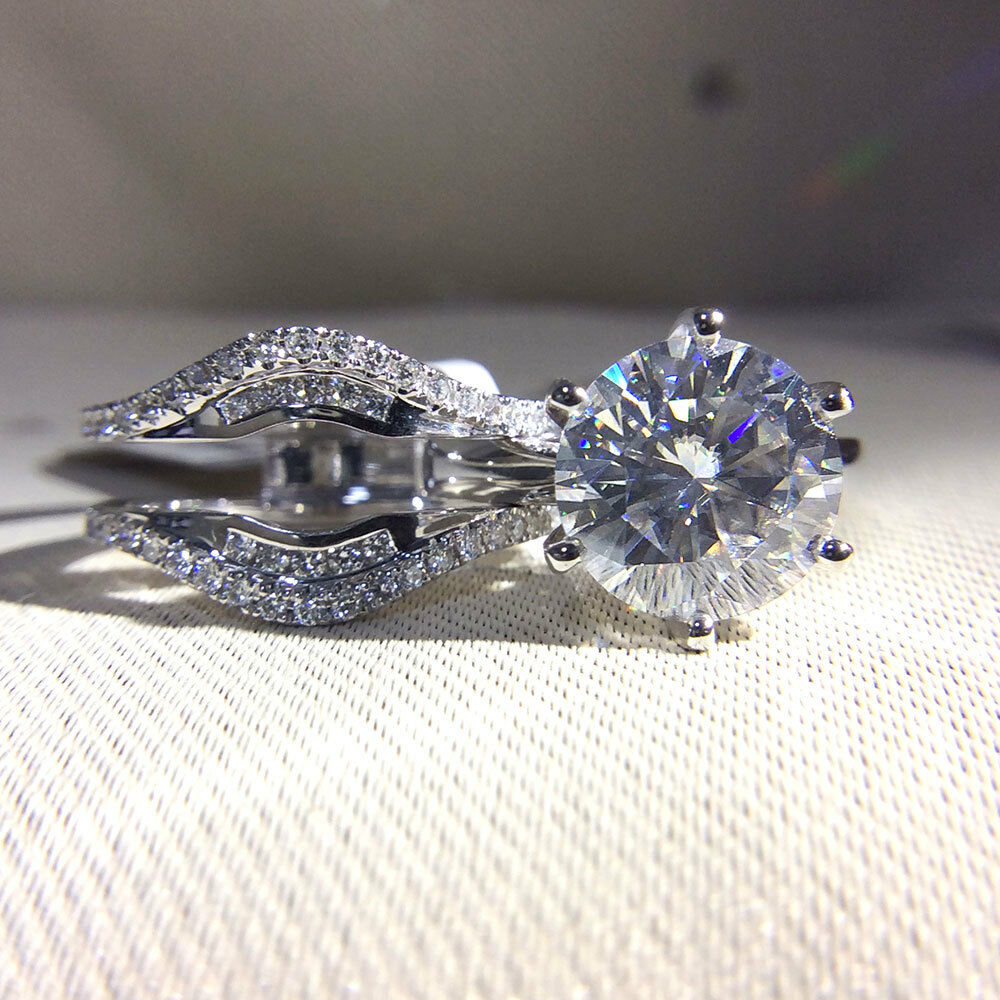 3.0ct 9mm Round Brilliant Cut VVS1 Moissanite Engagement Ring Set 14K White gold