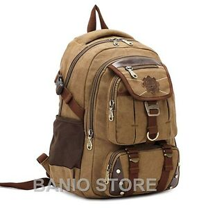 KAUKKO-Men-Canvas-Backpack-Laptop-School-Satchel-Travel-camping-Bag-Rucksack-316