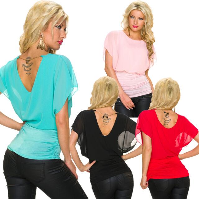 Damen Bluse Shirt Top Tunika Kurzarm mit Kette S 34 36 Party Büro Mode Freizeit
