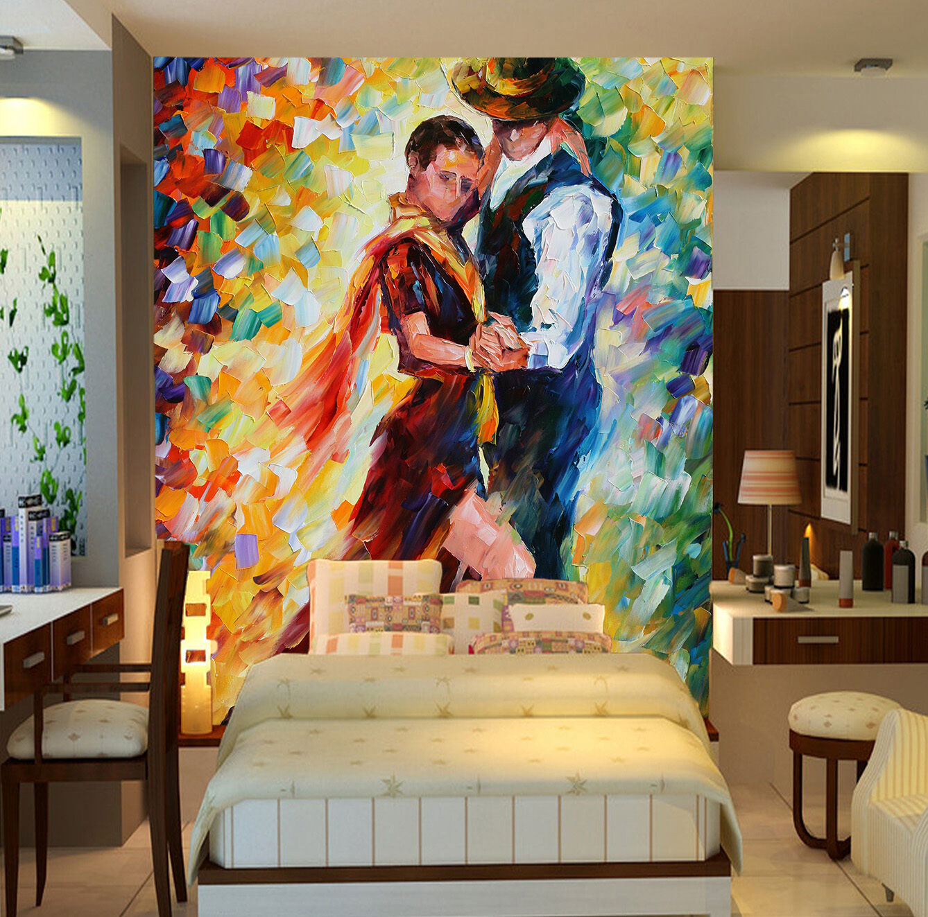 3D Male Female Dance Paint Paper Wall Print Wall Decal Wall Deco Indoor Murals
