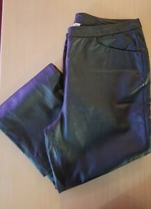 Chadwicks-Black-Genuine-Leather-Pants-Boot-Cut-Leg-Fully-Lined-Size-12-Pre-Owned