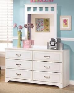 White Dresser And Mirror Set Cottage Design Bead Board Kids Storage