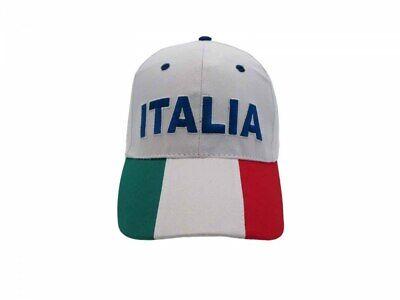 Attento Cappello Italia Ricamato Misura 58cm Regolabile Bianco Visiera Tricolore Azzurri