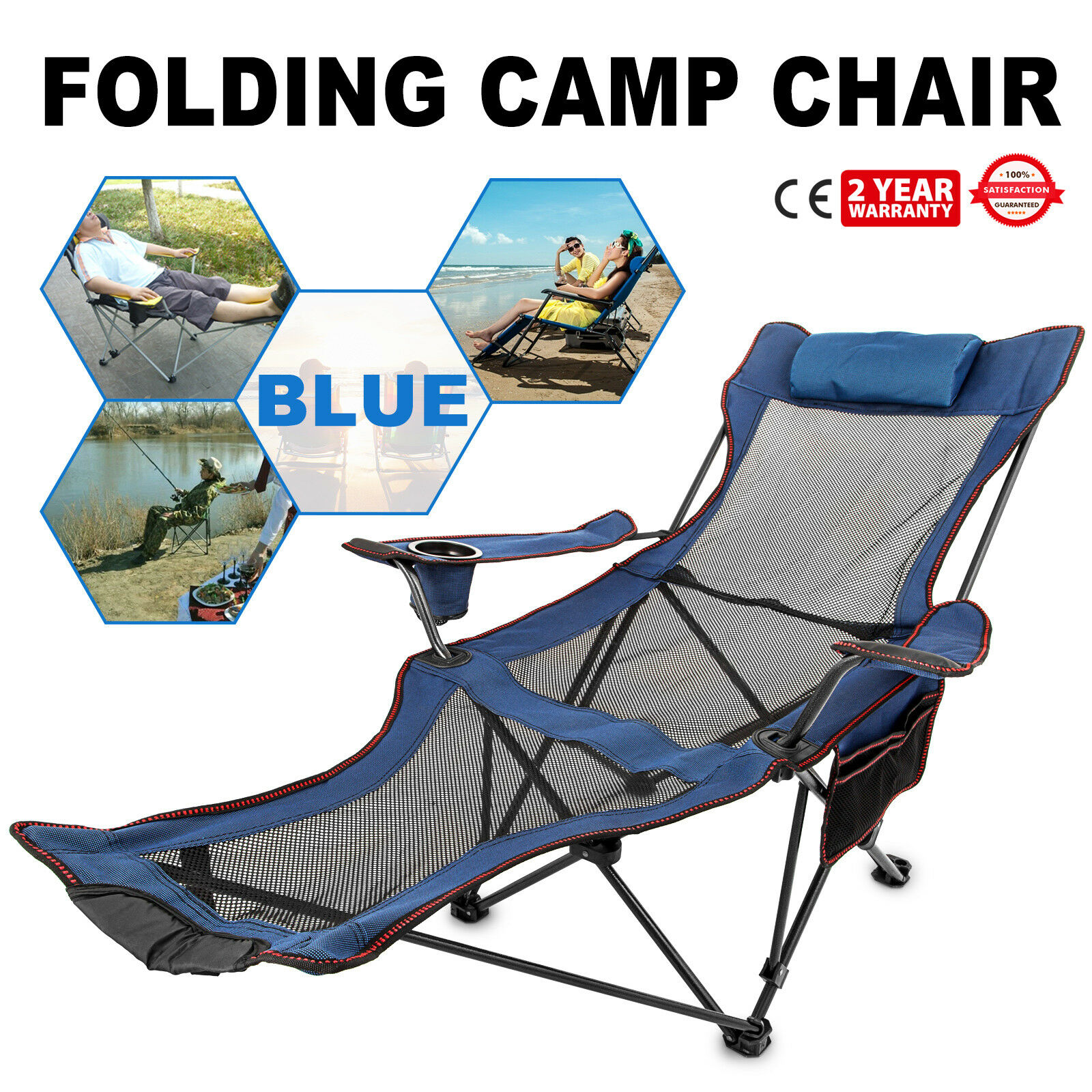 bluee Reclining Folding Camp  Chair With Footrest Cup Holder Outdoor Lounge HOT  special offer
