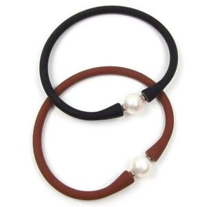 7-5-034-Genuine-Round-Cultured-White-Pearl-Stretchable-amp-Flexible-Bangle-Bracelet