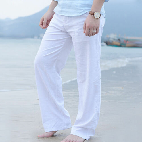 Men Trousers Summer Beach Casual Cotton Linen Straight Loose Long Yoga Pants